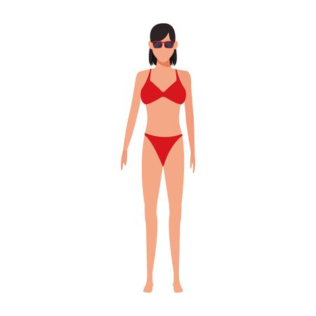 avatar woman wearing swimsuit and sunglasses icon over white background, vector illustration Ilustração