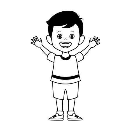 happy little boy icon over white background, vector illustration Ilustração