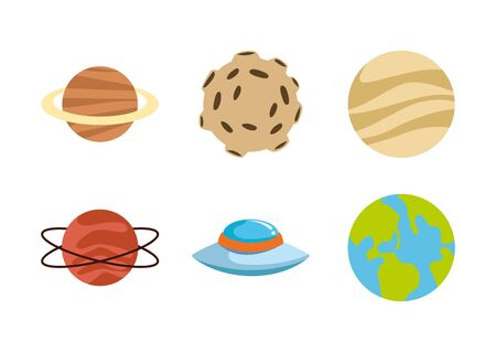 icon set of planets and moon over white background, vector illustration
