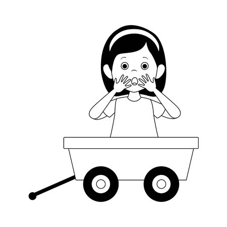cartoon surprised woman in toy wagon icon over white background, vector illustration Ilustração