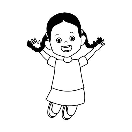 happy girl jumping icon over white background, vector illustration