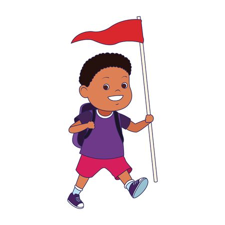 cartoon explorer boy with a flag icon over white background, vector illustration Stock Illustratie