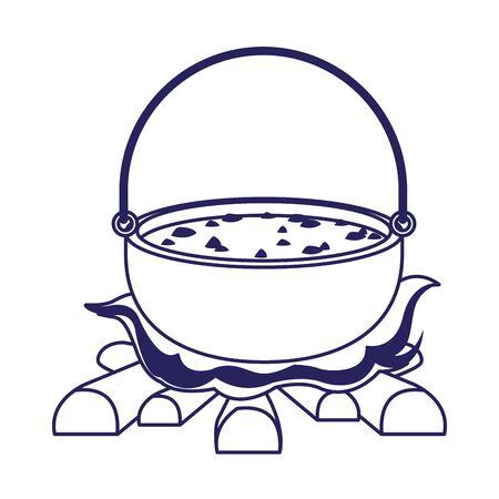 Camping pot over bonfire icon over white background, vector illustration Reklamní fotografie - 132999462