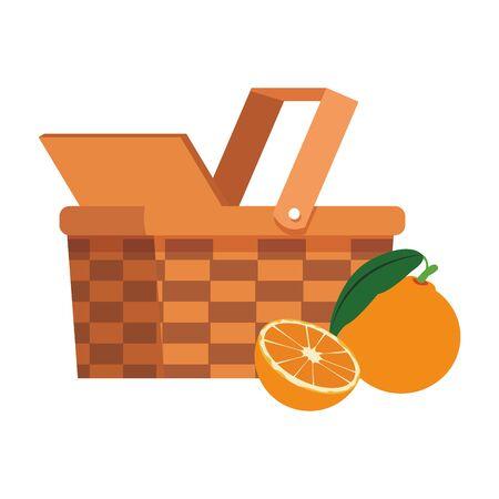 wicker basket and oranges over white background, vector illustration Vettoriali