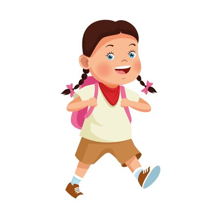 cartoon happy girl with a backpack over white background, vector illustration