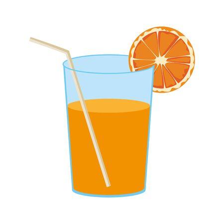 orange juice icon over white background, vector illustration Çizim