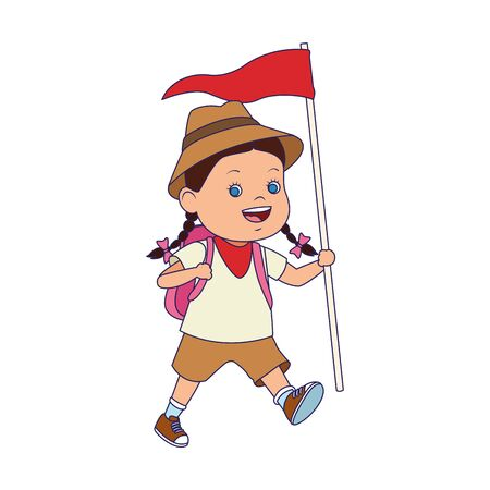 cartoon explorer girl with a flag over white background, vector illustration