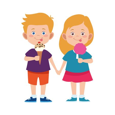 cartoon happy boy and girl eating ice cream cones over white background, vector illustration