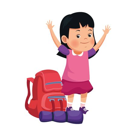 cartoon happy girl and school over white background, vector illustration