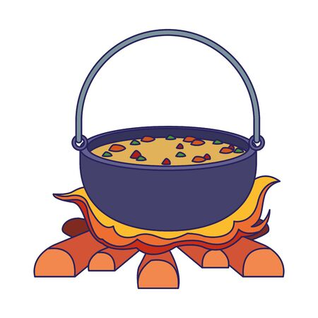 Camping pot over bonfire icon over white background, vector illustration