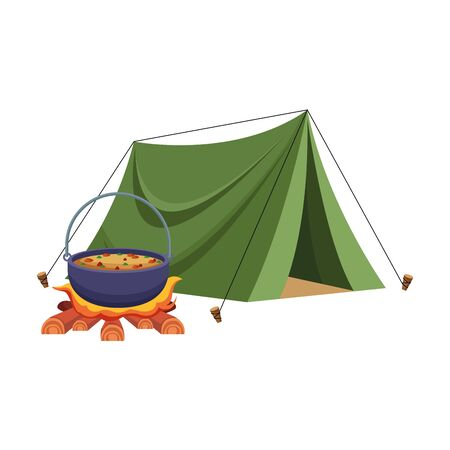 camping tent and bonfire with pot icon over white background, vector illustration Reklamní fotografie - 133003834