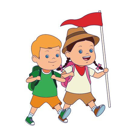 cartoon explorer girl and boy icon over white background, vector illustration