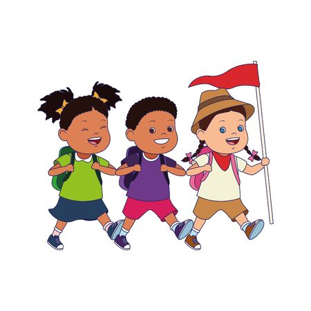 cartoon happy explorer kids with a flag over white background, vector illustration Stock Illustratie