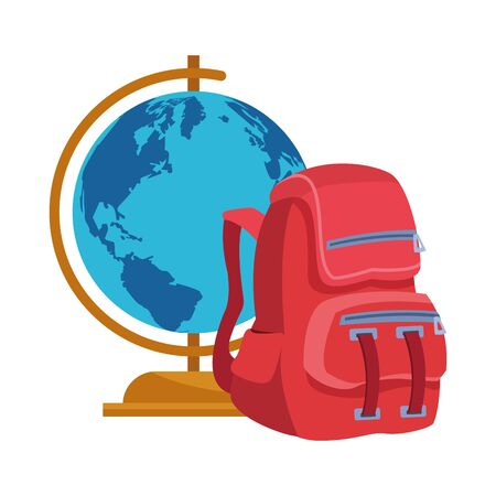globe and school backpack icon over white background, vector illustration Иллюстрация