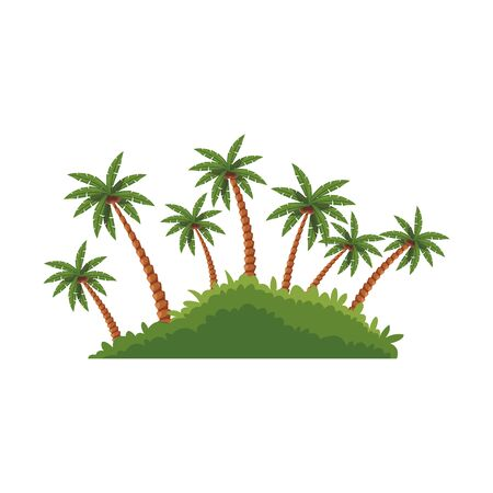 beach palms icon over white background, vector illustration