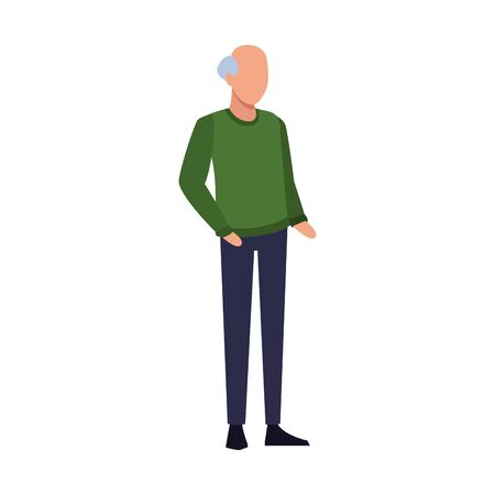 avatar old man icon over white background, flat design. vector illustration