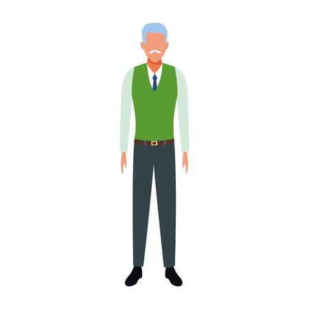 avatar old man icon over white background, vector illustration Stock Illustratie