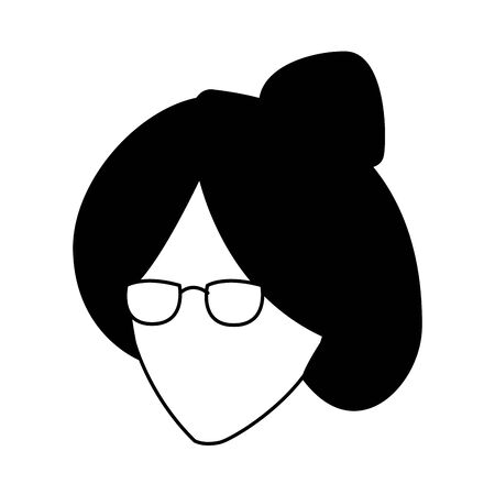 avatar old woman with glasses over white background, vector illustration
