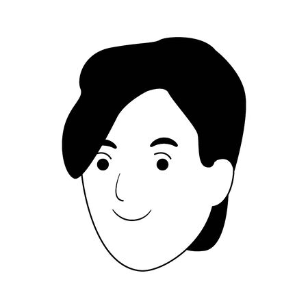 cartoon woman with short hair over white background, vector illustration