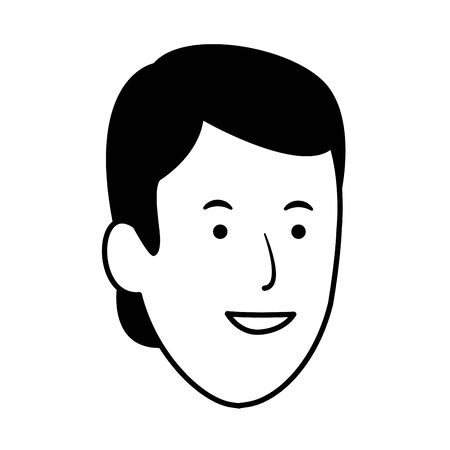 Cartoon uomo sorridente icona su sfondo bianco, illustrazione vettoriale Vettoriali