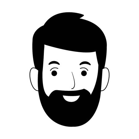 happy man with beard icon over white background, vector illustration