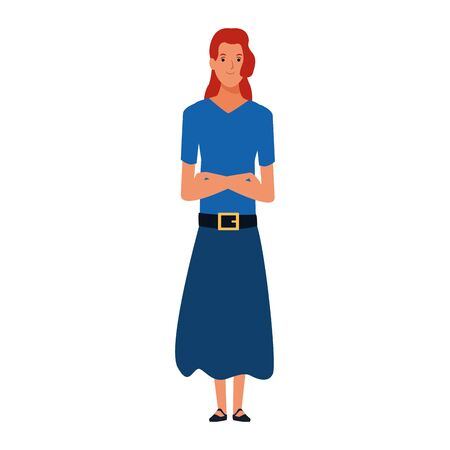 cartoon woman wearing long skirt icon over white background, vector illustration