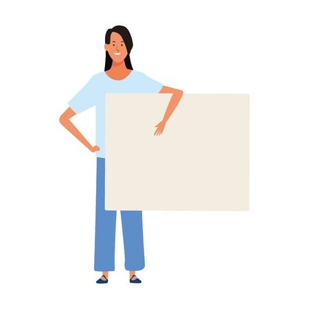 cartoon woman with blank placard over white background, colorful design. vector illustration