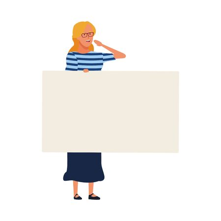 woman with blank placard over white background, vector illustration