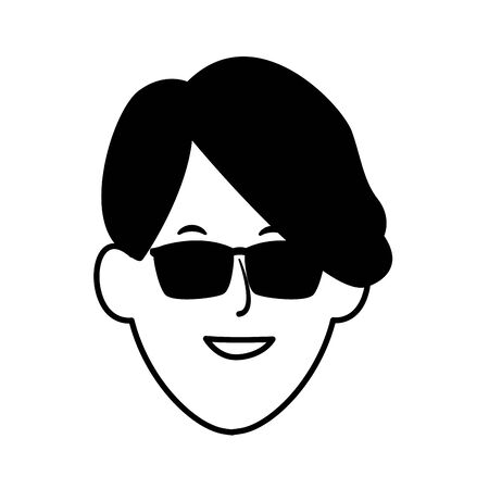 cool man with sunglasses icon over white background, vector illustration