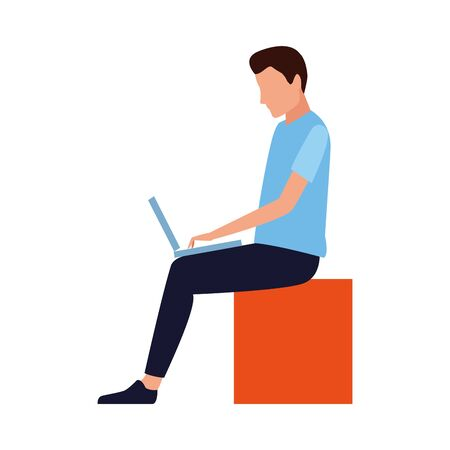 avatar man with laptop computer over white background, vector illustration