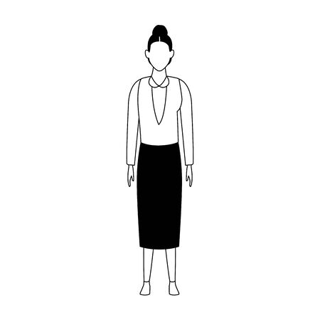 avatar old woman standing icon over white background, vector illustration