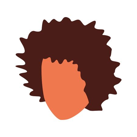 avatar woman with curly hair over white background, vector illustration