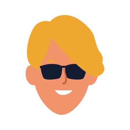 cool man with sunglasses icon over white background, colorful design. vector illustration
