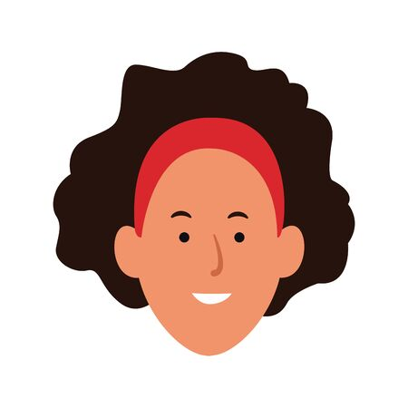 woman with headband and curly hair icon over white background, vector illustration