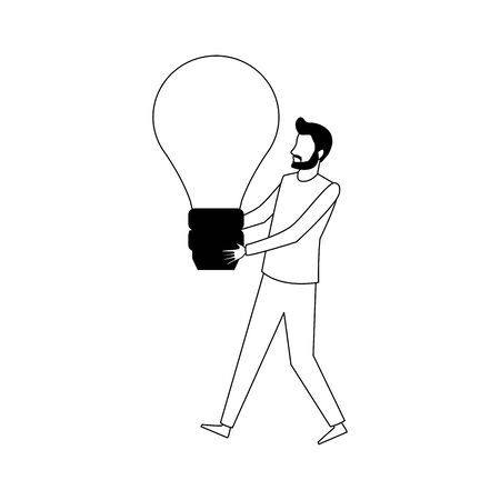 avatar man holding a bulb light icon over white background, vector illustration
