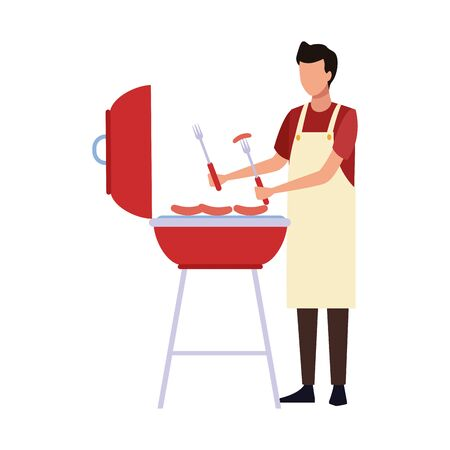 man and bbq grill icon over white background, vector illustration Stock Illustratie