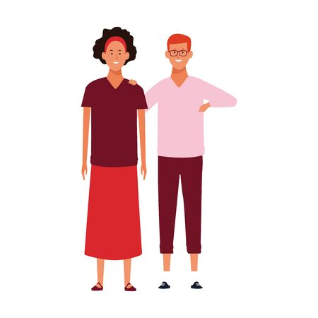 cartoon adult couple wearing casual clothes over white background, colorful design. vector illustration