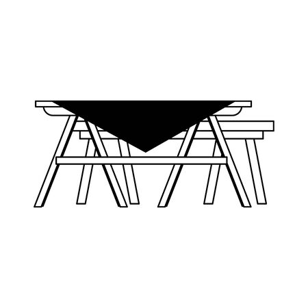 picnic table with tablecloth over white background, vector illustration