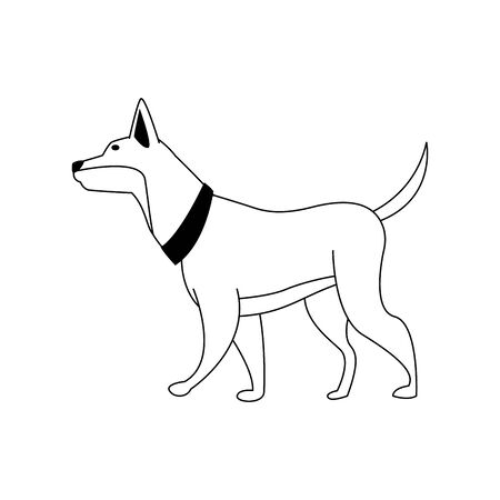 cute dog icon over white background, vector illustration