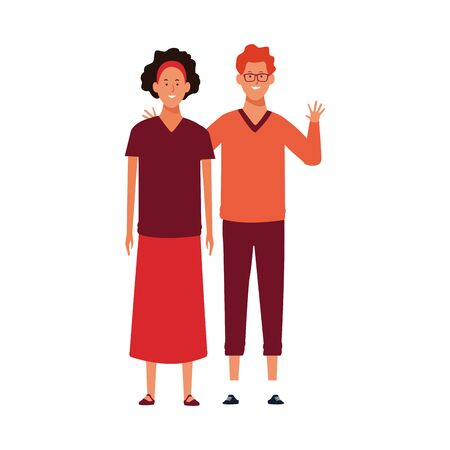 cartoon young couple waving wearing casual clothes over white background, vector illustration