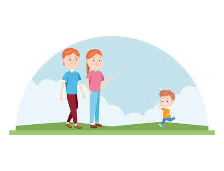 cartoon happy family with little boy in the nature outdoor over white background, colorful design , vector illustration