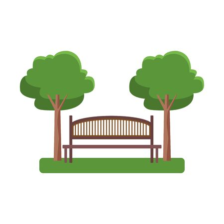 park bench and trees over white background, vector illustration