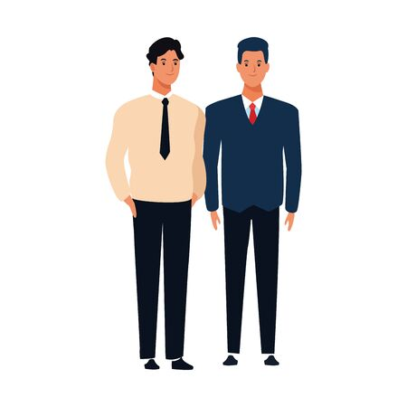 cartoon friends men standing icon over white background, vector illustration Çizim