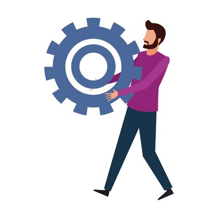 avatar man holding a big gear wheel icon over white background, vector illustration
