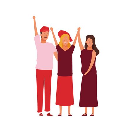 happy women and man standing protesting over white background, vector illustration