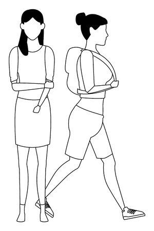 casual people women cartoon vector illustration graphic design  イラスト・ベクター素材