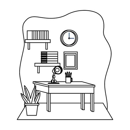 Office workplace desk with light lamp pencils and bookshelf elements cartoons ,vector illustration graphic design.