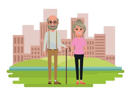 elderly people avatar old woman with bun and old man with beard, glasses and cane profile picture cartoon character portrait over the grass with building and skyscraper cityscape vector illustration graphic design