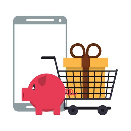 Online shopping and payment smartphone and piggy bank symbols vector illustration graphic design