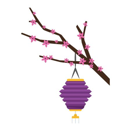 blossom tree branch with oriental lantern over white background, colorful design. vector illustration